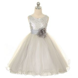 Kids Dream Girls 14 Silver Sequin Double Mesh Flower Girl Dress
