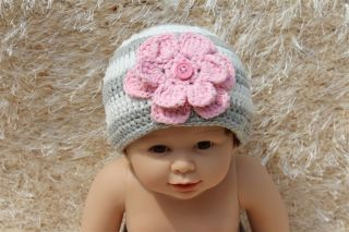 New Cotton Handmade Baby Girl Flower Knit Hat Newborn Baby Photo Prop 0 1Year
