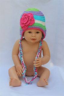Cute Handmade Baby Child Knit Hat Beanie Colorful Pink Flower Newborn TO3 Year