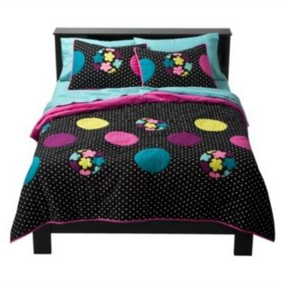 Xhilaration Twin XL Quilt Black Polka Dots Colorful Flowers