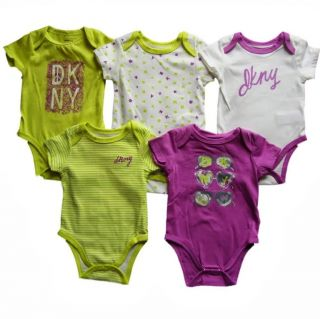5 Pcs DKNY Baby Girls Bodysuit Shirt Clothes Green Purple White Size 3 6M