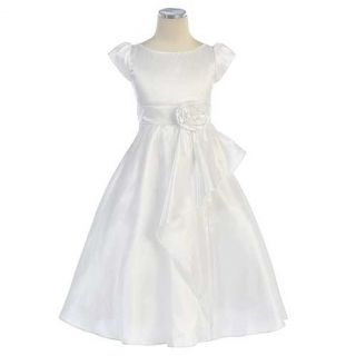 Sweet Kids Girls 12 White Cascading Taffeta First Communion Dress