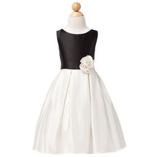 Sweet Kids Girls 12 Black Off White Satin Christmas Flower Girl Dress