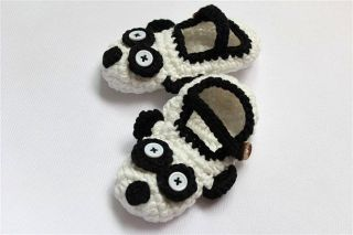 New Handmade Knit Crochet White Black Panda Baby Hats Shoes Newborn Photo Prop