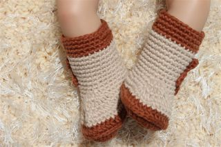 New Cute Handmade Knit Crochet Coffee Cowboy Baby Hats Boots Newborn Photo Prop