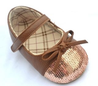 Brown Bow Mary Jane Children Toddler Baby Girl Shoes Size 4 5 6 7