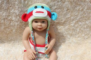 Cute Handmade Colorful Sock Monkey Baby Knit Hat Nappy Photo Prop New 0 3month
