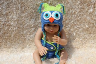 New Cute Cotton Handmade Green Blue Newborn Baby Knit Owl Hat Nappy Photo Prop