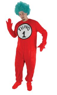 Dr Seuss Cat in Hat Thing One 1 Adult Unisex Jumpsuit Red Suit Wacky Costume