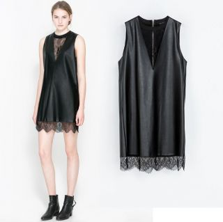 Womens European Fashion Sleeveless Lace V Neck PU Leather Mini Dress B4151MS