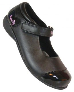 New Little Toddler Girls Black Mary Jane Velcro Strap School Shoes Sz Size 5 6 8