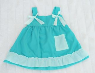 Kid Children Cute Dress Set Bloomer Bottom Headband Blue Green 4 Sizes