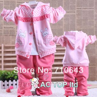 3in1 Baby infant girls suit kids clothing sets t shirt hoodies coat pants 6 18M