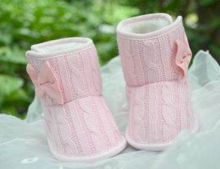 Pink Baby Girl Boots Gray Crib Shoes Toddler Shoes Booties Size 2 3 4
