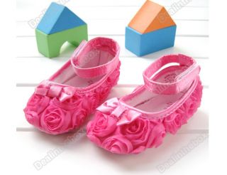 Pink Mary Jane Infant Baby Shoes Girls Toddler Dress Soft Sole Rose Flower S81