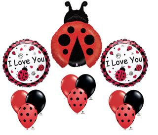 Ladybug Red Black I Love You Birthday Baby Shower Balloon Party Set Mylar Latex