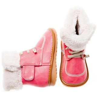 Girls Toddler Infants Childrens Leather Squeaky Boots Peach with Fleecy Inners