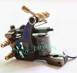 Super Tattoo Machine Gun Cast Iron Frame 10 Wrap Coils Supply