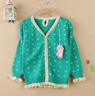 Quality Baby Girl's Kid's 100 Cotton Bowknot Cardigan Sweater Tops MM002