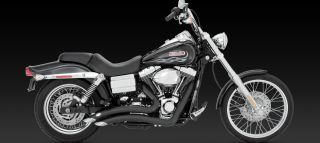 Big Radius Vance Hines Black Radius Exhaust for Harley Dyna 2006 2011