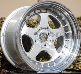 JNC 010 15x9 4x100 20 Silver Wheel Fit VW Golf Jetta Cabrio Corrado Miata Civic