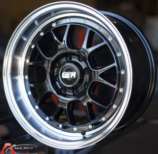 "15x8 Str 502 4x100 25 3"" Lip Black Wheel Fit Honda CRX Civic SI EK6 EK9 Cabrio"