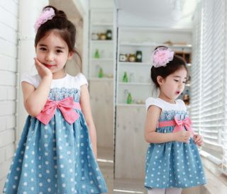 Sweety Style Girls Baby Kids Blue Cowboy Polka Dot Bowknot Casual Dress Clothes