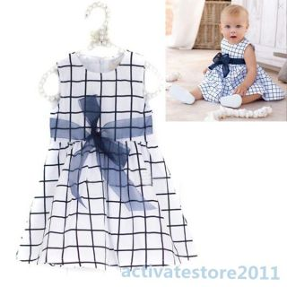 Baby Toddler Girl Kids Cotton Top Bow Knot Plaids Dress Outfit Clothes 0 3 Years