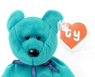 Candy Spelling's Beanie Baby New Face Teal Green Teddy Bear '93 1st Gen Tush Tag
