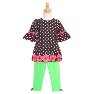 Bonnie Jean Girls 2T Black Polka Dot Dress Green Leggings Outfit
