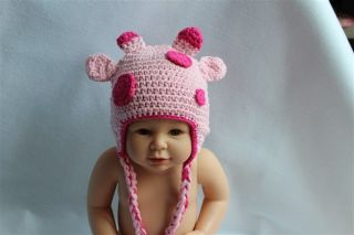 New Handmade Baby Child Crochet Pink Sika Deer Hat Photograph Newborn to 3 Year