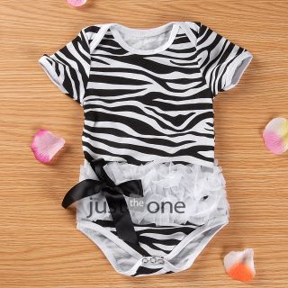 Lovely Girls Bodysuit One Piece Short Sleeve Baby's Summer Romper Newborn 12M