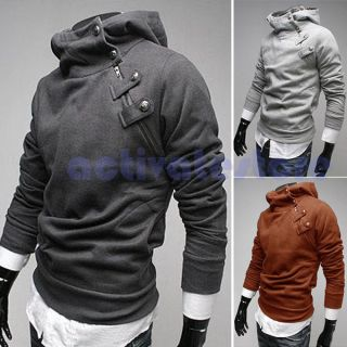 Slim Fit Coat Mens Slant Zip Detail Hoodie Artificial Rabbit Fur Collar Jacket