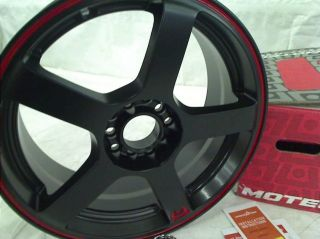 "Motegi Racing MR116 Matte Black Finish Wheel with Red Accents 17x7"" 5x100mm"
