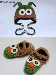 Cute Handmade Owl Newborn Baby Crochet Knit Hats Shoses Girl Boy Photograph New