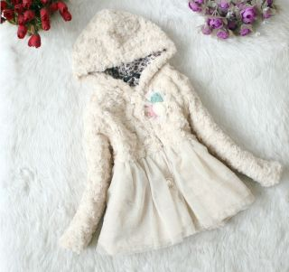 Pretty Baby Toddler Kids Faux Fur Fleece Floral Coat Girls Winter Warm Jacket