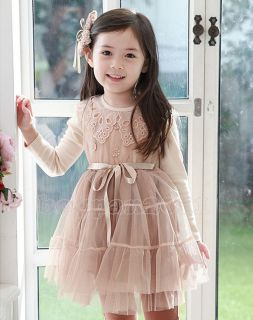 Kids Toddlers Girls Princess Party Long Sleeve Tulle Dress Lace Collars AGE2 7Y