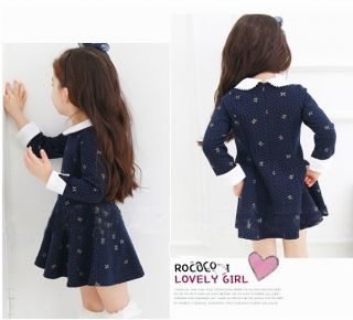 Baby Girl Clothing Girl Prince Party Dress A Skirt 4T Navy Blue Long Sleeve