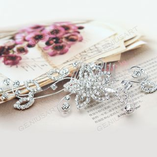 Charming Wedding Bridal Flower Rhinestone Silver Plated Crystal Hair Clip Comb