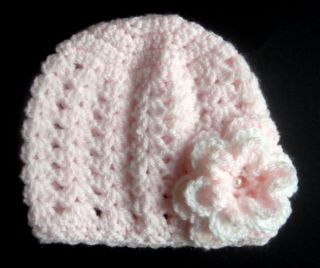 Hand Crochet Baby Girl Beanie Hat Pink with Flower Pearl Detail NB 9 Months