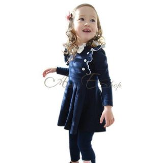 1pc Girls Baby Long Sleeve School Top Dress Kid Cotton Party Autumn Skirt 2T 6