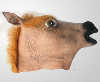 Horse Head Mask Creepy Halloween Costume Theater Prop Novelty Latex Fur Mane Gag