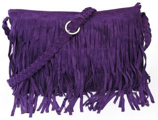 Vintage Womens Tassel Suede Fringe Shoulder Messenger Handbag Cross Body Bag Q