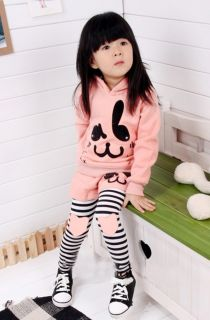 Baby Kids Toddlers Girls Cotton Coat Pants Sportswear Suit Outfit Hoodie Clothes