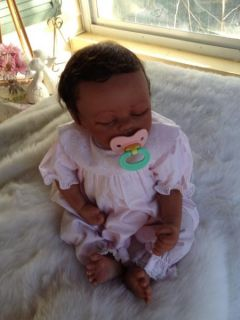 Baby Meg Beautiful Biracial Reborn Baby Girl Art Doll Hand Painted 3D Skin