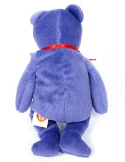 RARE Candy Spelling's Beanie Baby Employee Teddy Bear Violet Red Ribbon 1997