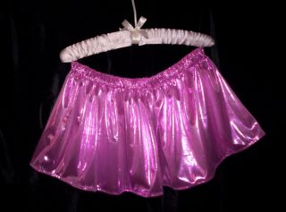 Adult Sissy Womens Flirty Mens TV CD Cute Sexy Pink Glittery Knit Mini Skirt