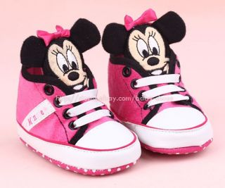 Toddler Baby Girl 3D Minnie Mouse Crib Shoes Sneakers Size 0 6 6 12 12 18 Months