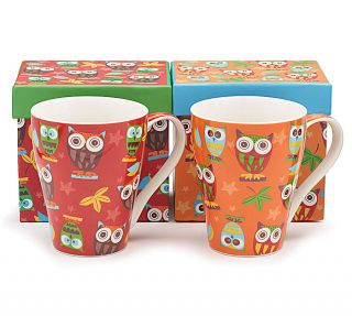Whimsical Owl Coffee Mug Cup Tea 14 oz Gift Box Set of 2 Bone China Red Orange