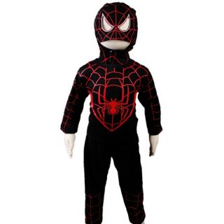 KD302 New Boys Spiderman Halloween Carnival Party Costume Outfits Suit Black Red